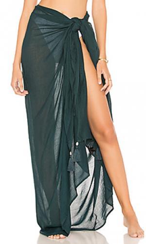 Однотонный sarong Indah. Цвет: сине-зеленый