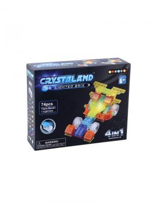 Светящийся конструктор Crystaland Гоночный автомобиль 4в1 74 детали Neocube. Цвет: фиолетовый
