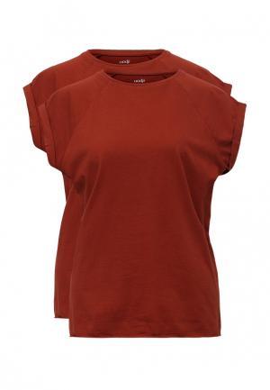 Комплект футболок 2 шт. oodji. Цвет: коричневый