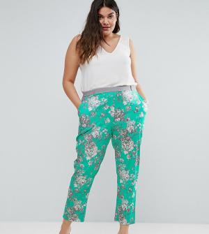 Elvi Бирюзовые брюки с цветочным принтом. Цвет: зеленый