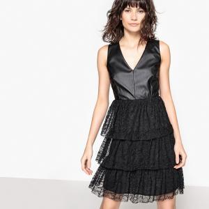 Платье из двух материалов с воланами и кружевом La Redoute Collections. Цвет: черный