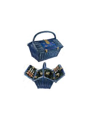 Набор для пикника на 2 персоны Русские подарки. Цвет: синий, серый, коричневый
