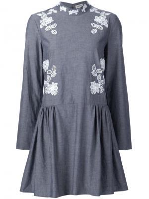 Платье с вышивкой макраме Suno. Цвет: серый