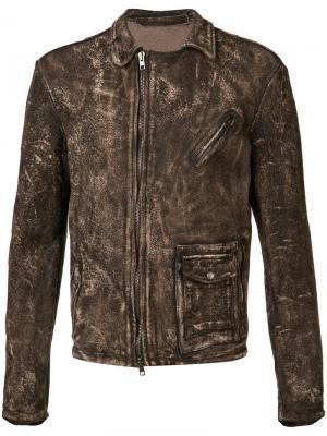 Куртка с эффектом потертости Salvatore Santoro. Цвет: коричневый