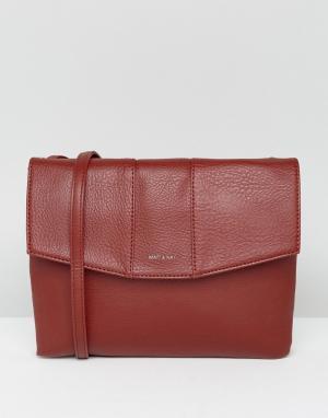 Matt & nat Темно-красная сумка через плечо с клапаном. Цвет: красный