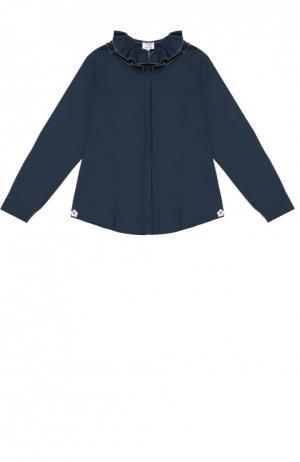 Хлопковая блуза с декором Aletta. Цвет: синий