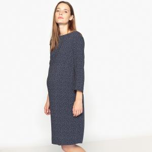 Платье прямое для периода беременности La Redoute Collections. Цвет: рисунок экрю/темно-синий