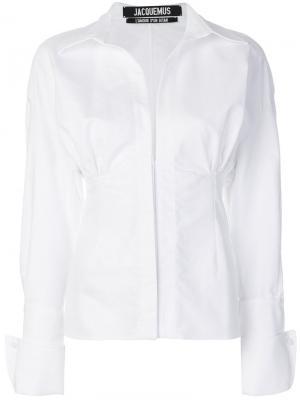 Рубашка со сборками Jacquemus. Цвет: белый