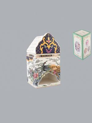 Банка для чайных пакетиков Павлин на золоте Elan Gallery. Цвет: белый, черный, золотистый