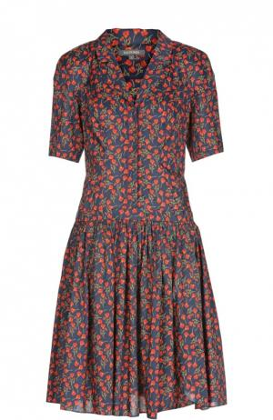 Приталенное платье-рубашка с ярким принтом Zac Posen. Цвет: красный