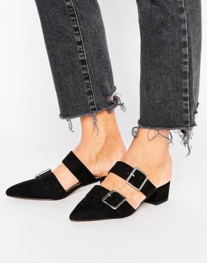 ASOS Остроносые туфли-сабо на низком каблуке SIESTA. Цвет: черный