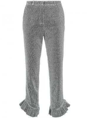 Укороченные строгие брюки Elaidi. Цвет: металлический