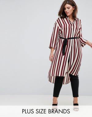 Elvi Платье-рубашка в полоску. Цвет: красный