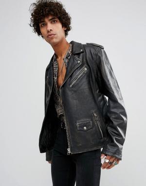 Goosecraft Черная кожаная куртка премиум. Цвет: черный