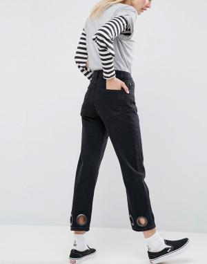 ASOS Черные выбеленные джинсы прямого кроя с большими люверсами FLOREN. Цвет: черный