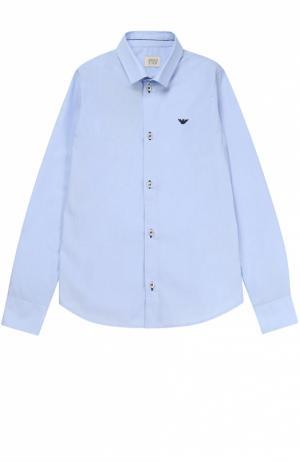 Классическая рубашка из хлопка Armani Junior. Цвет: голубой