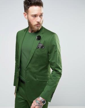 Devils Advocate Зеленый приталенный пиджак из хлопкового сатина. Цвет: зеленый
