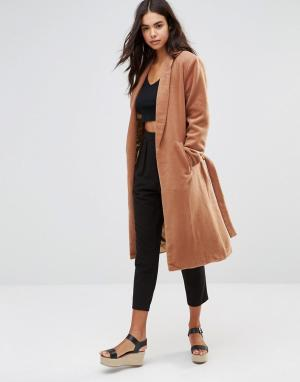 Unique 21 Пальто в стиле халата с поясом-завязкой. Цвет: рыжий