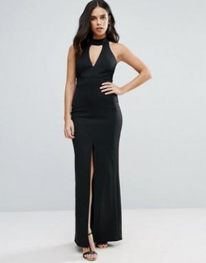 Jessica Wright Платье макси с разрезом спереди и кружевной отделкой. Цвет: черный
