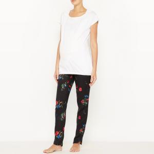 Пижама для периода беременности и грудного вскармливания La Redoute Collections. Цвет: белый наб.рисунок