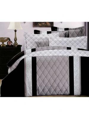 Комплект постельного белья, Евро Boris. Цвет: серый, черный
