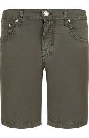 Джинсовые шорты с потертостями Jacob Cohen. Цвет: хаки