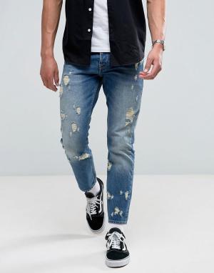ASOS Выбеленные узкие рваные джинсы. Цвет: синий