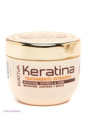 Интенсивно восстанавливащий уход с кератином Kativa дл поврежденных и хрупких волос KERATINA, 250. Цвет: молочный, золотистый