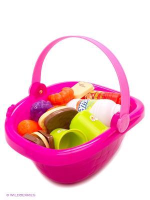 Набор посудки в корзине S-S. Цвет: фиолетовый, белый, желтый, зеленый, красный, розовый