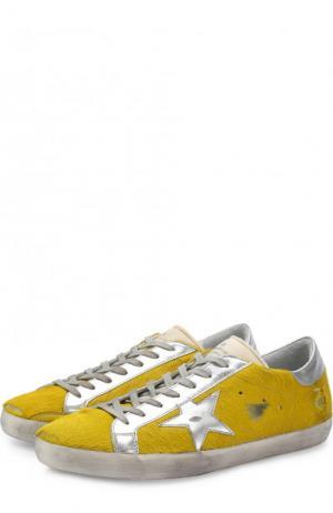 Кожаные кеды на шнуровке с меховой отделкой Golden Goose Deluxe Brand. Цвет: желтый