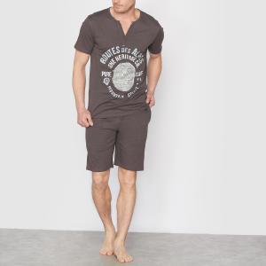 Пижама с шортами из хлопкового джерси CASTALUNA FOR MEN. Цвет: антрацит