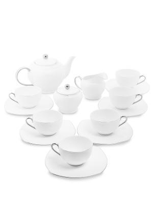 Чайный сервиз на 6 перс. Ордженто Бьянко (Pavone) Pavone. Цвет: белый