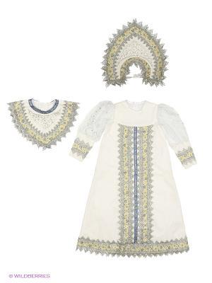 Карнавальный костюм Снегурочка Сударыня Батик. Цвет: кремовый