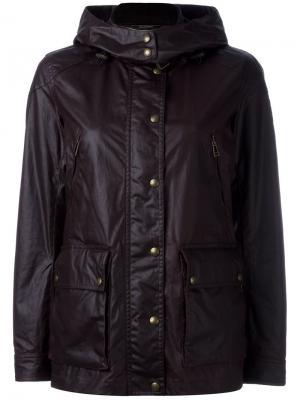 Куртка с капюшоном и эффектом кожи Belstaff. Цвет: розовый и фиолетовый
