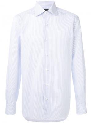 Классическая полосатая рубашка Barba. Цвет: синий