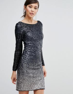 Coast Платье с длинными рукавами и сплошной отделкой пайетками Ella. Цвет: темно-синий