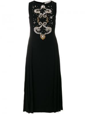 Декорированное платье миди Fausto Puglisi. Цвет: чёрный