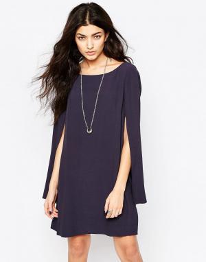 Free People Платье с рукавами‑кейп Kristal. Цвет: синий