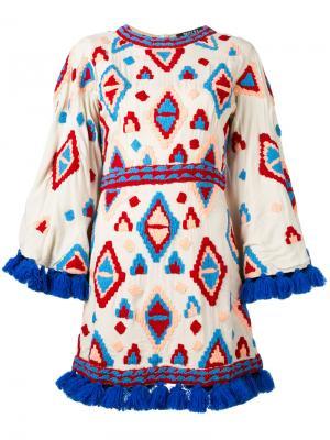 Платье с вышивкой All Things Mochi. Цвет: телесный