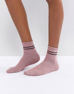 Vero Moda Носки с блестками. Цвет: розовый