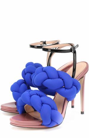 Босоножки с плетеными ремешками на шпильке Marco de Vincenzo. Цвет: синий