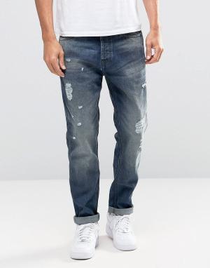 Jack & Jones Голубые выбеленные джинсы антифит с рваной отделкой Intel. Цвет: черный