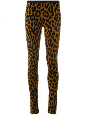 Leopard print skinny trousers Odeeh. Цвет: коричневый