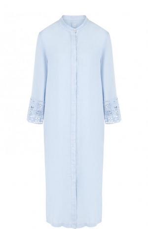 Льняное платье-миди с укороченным рукавом 120% Lino. Цвет: голубой