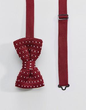 7X Вязаный галстук-бабочка в горошек. Цвет: красный