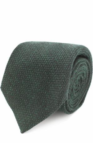 Галстук из смеси кашемира и шерсти с шелком Kiton. Цвет: темно-зеленый