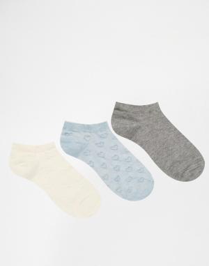 Lovestruck 3 пары синих спортивных носков с изнаночным рисунком. Цвет: синий