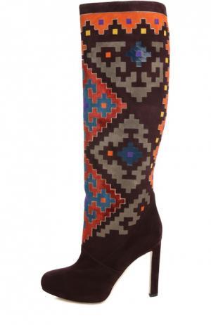 Замшевые сапоги Vicky с цветными вставками Brian Atwood. Цвет: разноцветный