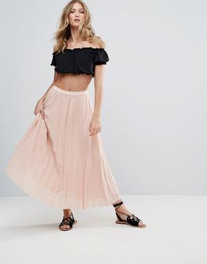 Deby Debo Плиссированная юбка макси 123. Цвет: розовый