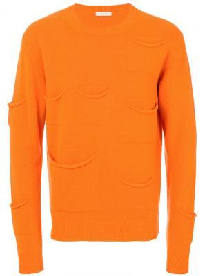 Свитер с карманами JW Anderson. Цвет: жёлтый и оранжевый